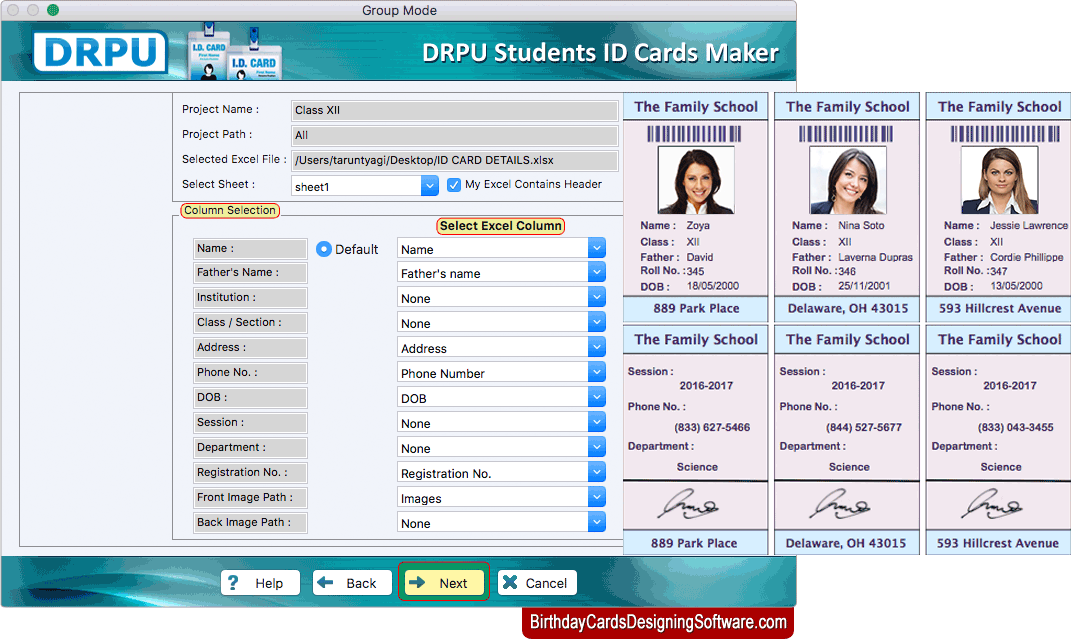 Students Id Cards Maker For Mac To Design Multiple Student Id Cards