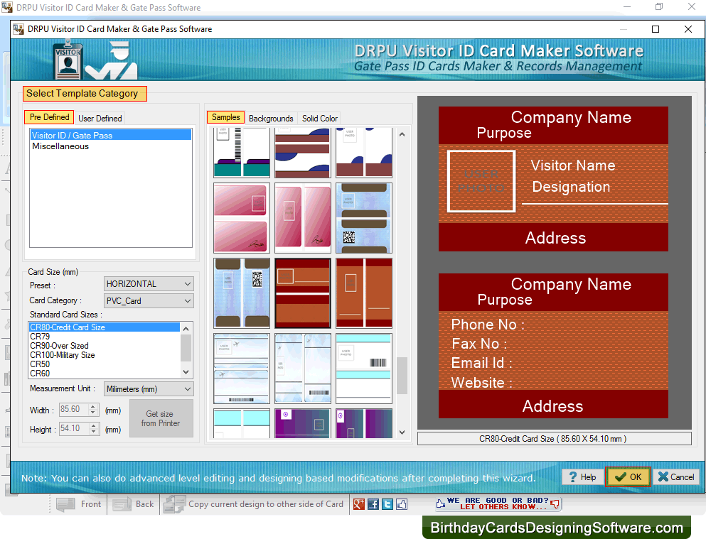 visitor id card maker software screenshots shows how to create gate pass