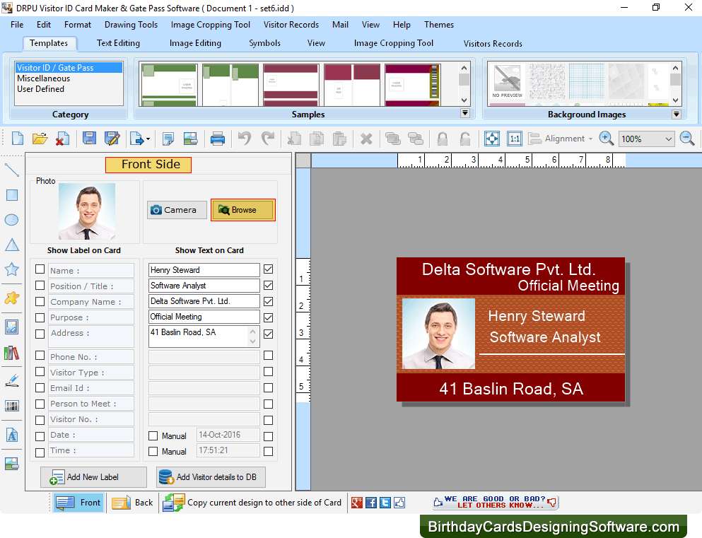 visitor id card maker software designs gate pass for visitors